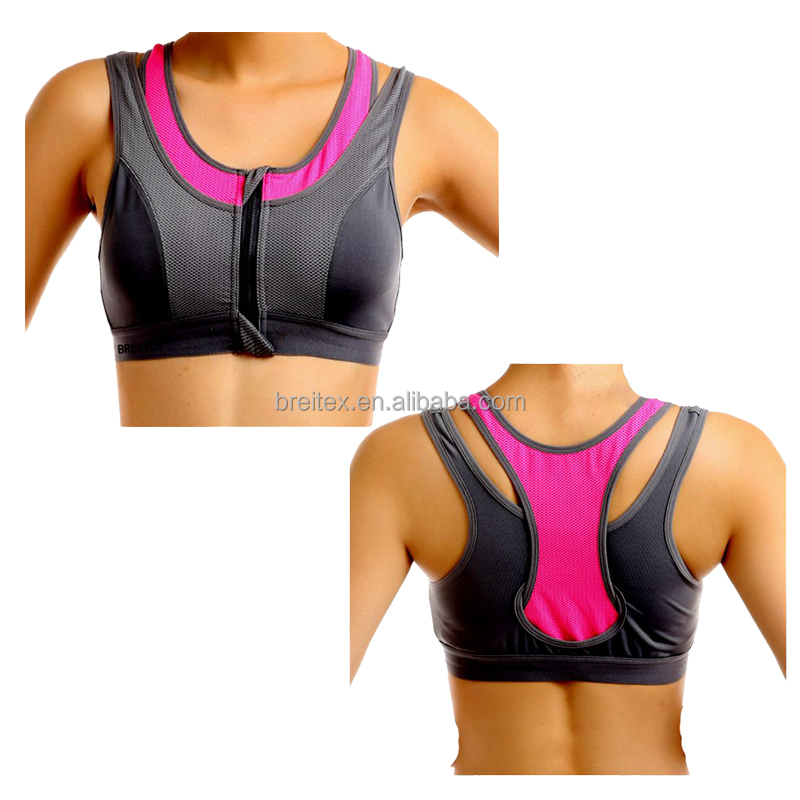 women zipper mesh breathable seamless hot sexy padded the sports bra