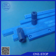 Custom plastic rack and pinion gear for printer using