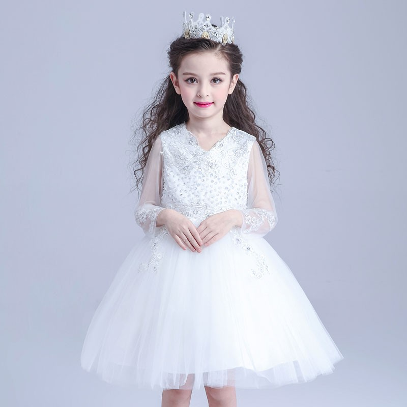 High quality lace wedding dresses long sleeve kids party wear dress S1603