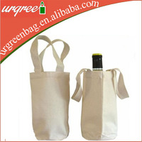 Blank cotton canvas tote single wine bottle bag