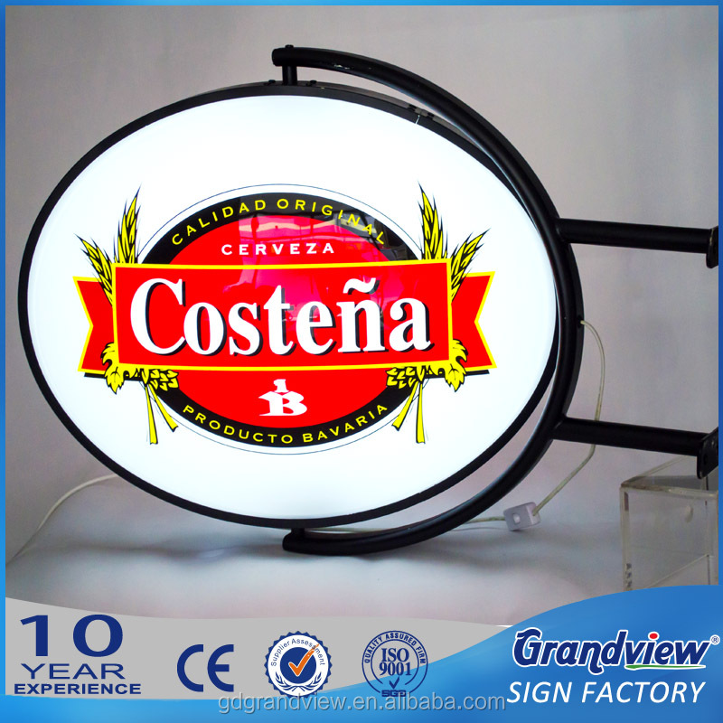 Outdoor acrylic oval led light sign blister signage