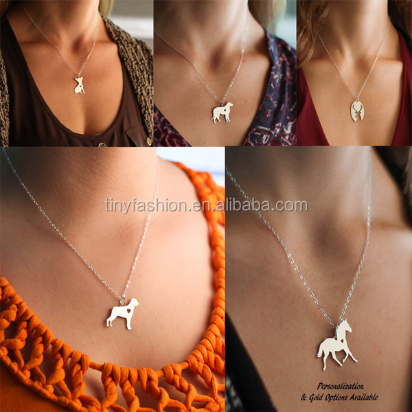 personized custom brass silver plated Christmas gift sheep, dog, cat, horse pendant chain necklace animal necklace pendant