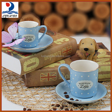 High class ceramic blue tea cup set/coffee cup set with export standard