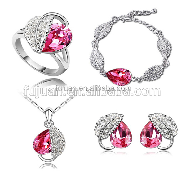4PCS Hot seasons crystal jewelry set with bracelet&necklace&ear stud