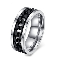 Men black stainless steel chain wholesale mens jewelry fashion chain spinner ring