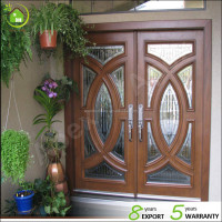solid wood teak wood luxury double entry door Grill design with art glass