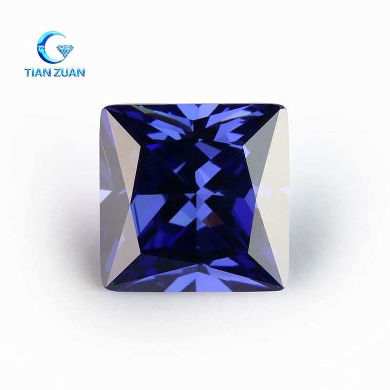 Good quality sapphire square shape machine cut cz stone for jewelry