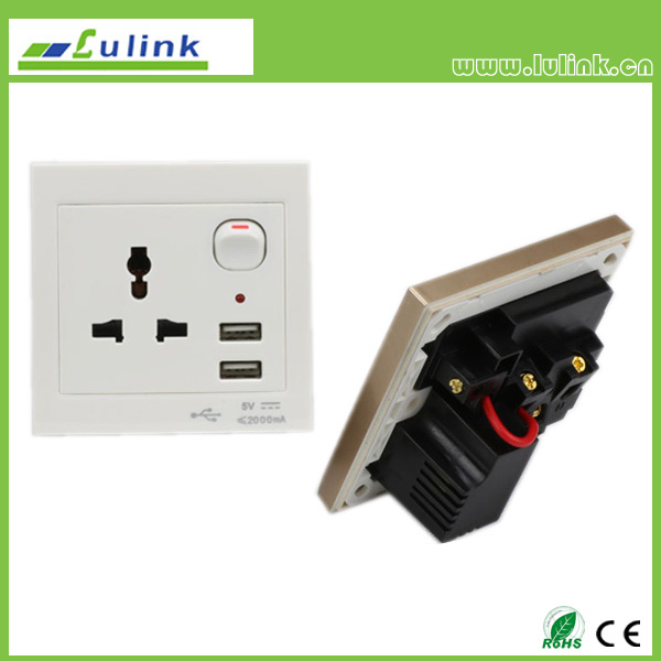 Three holes wall socket with USB port outlet panel plate