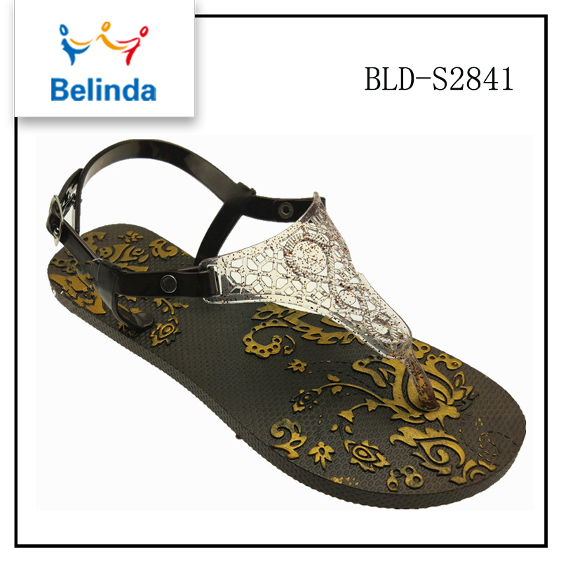 Hot selling summer sandal beautiful famous footwear shoes for women