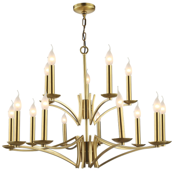 Royal Luxury Brass Finish Hotel Villa Candle Chandelier Pendant Lamp