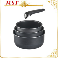 pressed aluminum nonstick coating sauce pan set with one shared detachable handle and induction bottom
