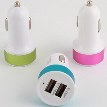 Smartphone car cigarette lighter socket powered 2.1a dual usb car charger