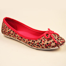 2016 Spring Fashion Leopard Ladies Flats Shoes Slip on Ballet Shoes For Women With Bot Tie Cheap Shoes