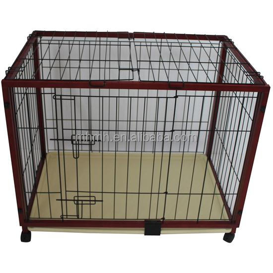 "47"" x 24"" x 28"" Portable Wood Pet Dog Cage with Wheels"