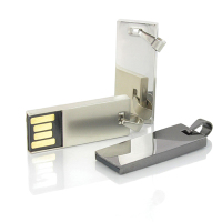 Mini flat USB flash drive Deluxe 2 with small keyring support laser logo