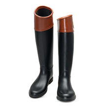 Chinese women ladies shoes factory PU leather horse riding rain boots for women ladies