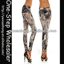 Colorful Newspaper Print Leggings Seamless Pants Sexy Women Tight