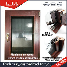Wood window frame with security fly insects screen aluminum window and door