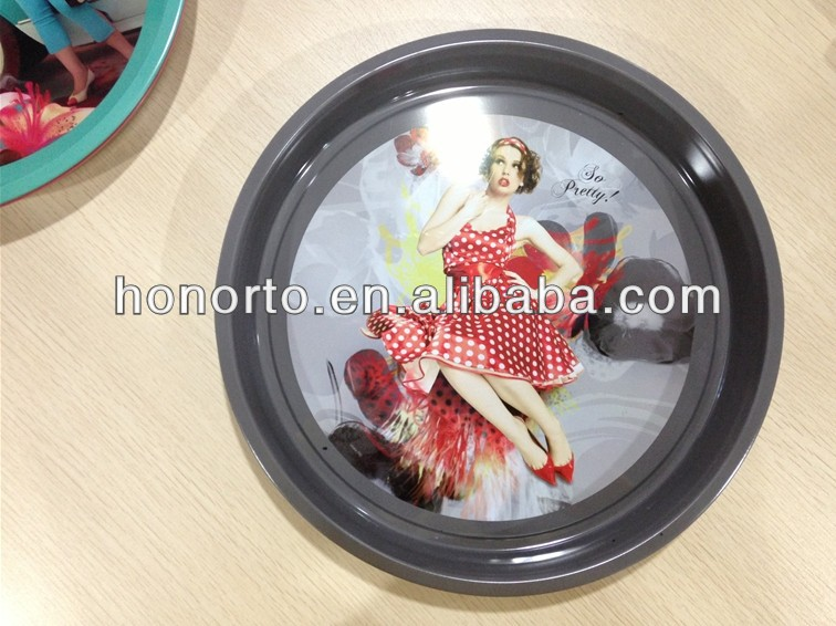 Tin Tray, serving trays, round metal tray
