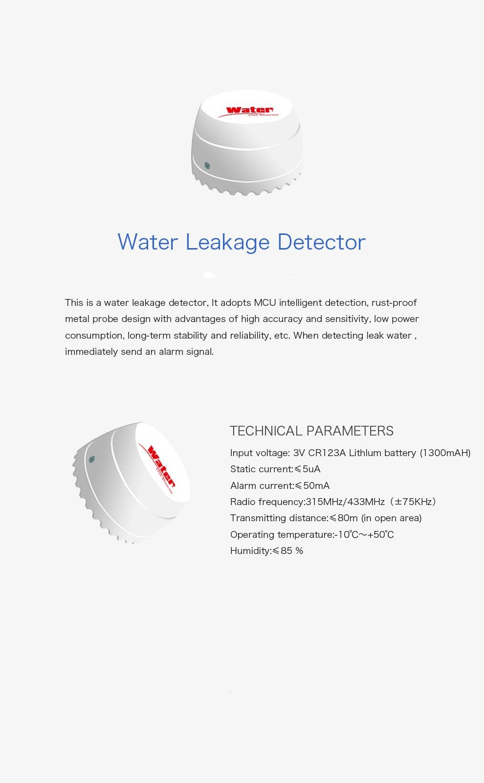 newest Wireless 433mhz Water Leakage Detectors for DIY wifi Smart Home Systems