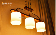 wholesale guzhen lighting wood material dinning lamp 3 glass shades hanging lamp