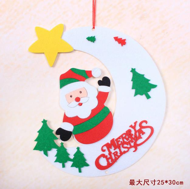 Wholesale China yiwu Christmas gift set products fabric polyester felt outdoor tree hanging moon star santa ornament <strong>decoration</strong>