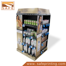 Retail Hair Salon Shampoo Product Corrugated Shelf Stand Pallet Display