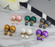 Hot selling Jewelry Manufacturer China Classic simple style lmitation Matt Double sided ball Stud Pearl Earrings For Women
