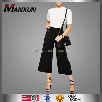 Latest Dress Designs Women's Wear New Look Crepe Double Zip Crop Pants High-rise Waistline Wide Legs Flared Pants