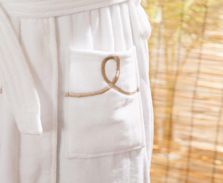 Gros blanc couleur microfibre tissu peignoir