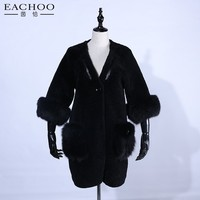 Ladies winter long coat suede combined with lambswool casual coat