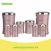 colorful metal storage box food canister set with dust bin