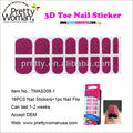 Fashion Nail Art 3D Toe Nail Sticker 16pcs Pink Water-Print Toe Stickers