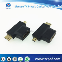 2 in 1 HDMI Female Type A to Mini HDMI Type C Male and Micro HDMI Type D Male T Adapter