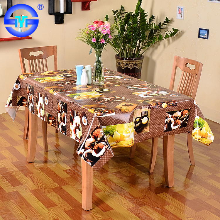 Guangzhou factory supplier price 70 inch vinyl table cloth pvc tablecloth table with non-woven backing