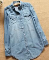 2015 denim shirt women long sleeve ladies summer denim shirt blouse tops