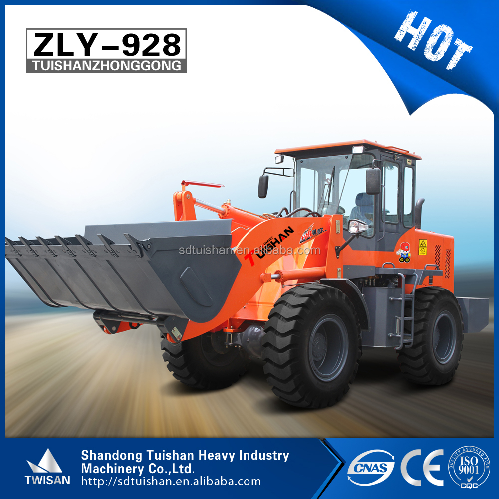 Hot sale China agriculture machinery small wheel loader ZLY928 with 92kw diesel engine