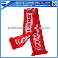 Customized small MOQ arcylic scarf/football scarf/sport scarf for sale