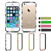 Embossed jewelry drop resistance stylish hard PC plastic frame bumper case For iPhone 5/ 5s