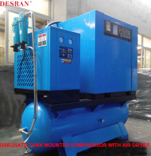 OEM service top brand 500Liters 8bar tank mounted screw air compressor 25hp 18.5kw with air dryer