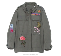 Army Green Military Blazer 100% Cotton Twill Embroidred Printed Hunting Jacket for Women