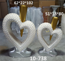 Wholesale OEM Elegant Heart Shape Floor Pearl Gold Silver Resin Inser Flower Vase For Home Decor