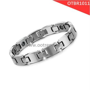 Fashion high polishing unti scratch Heavy pure tungsten magnetic energy bracelet for man