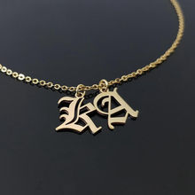 Personalized Gothic 18K Gold Plated Stainless Steel Old English Initial Letter Necklace