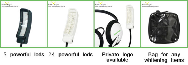 Home use teeth whitening headset kit with 5 leds