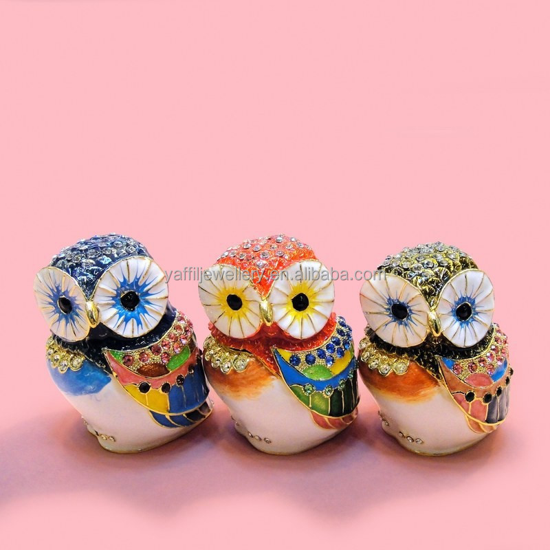 Cute Owl shape pewter jewelry box, owl souvenir