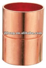 Red copper pipe fitting equal couplings