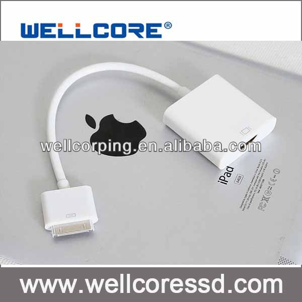 For ipad to hdmi cable adapter for apple product 1 2 3 iPhone 4S iPod Touch