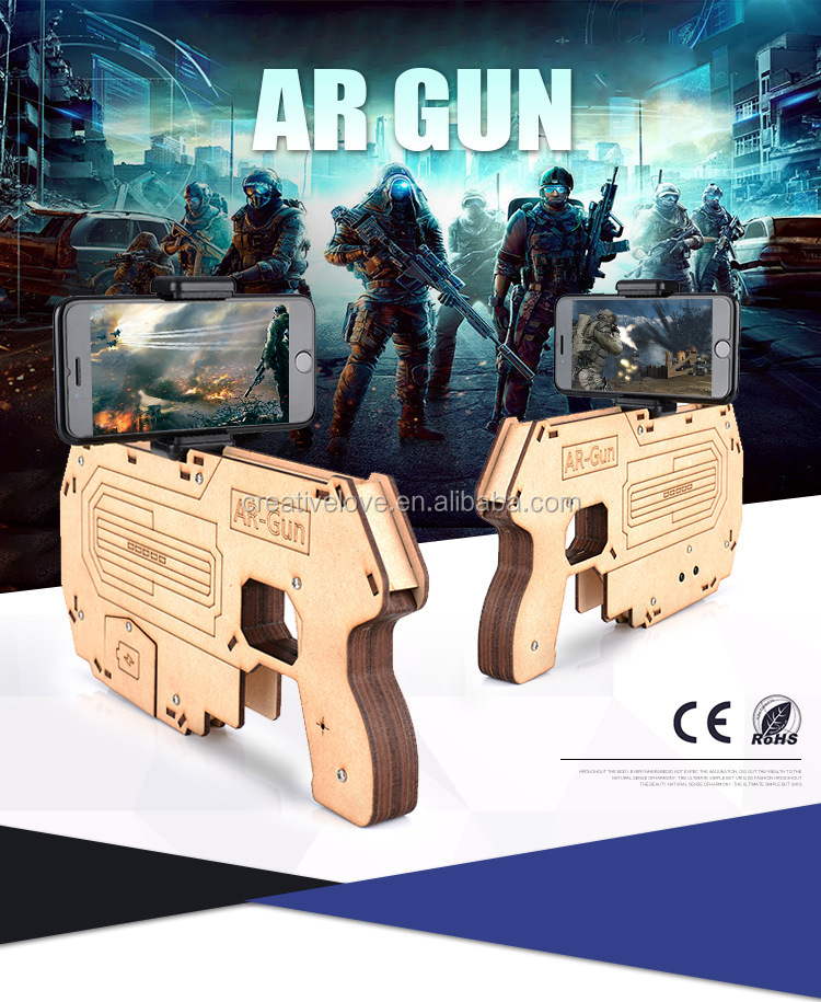 2017 bluetooth shooting game player wood AR game gun for children