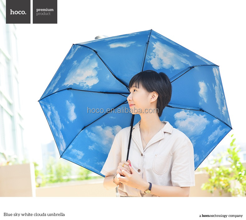 HOCO Blue sky white clouds umbrella folding umbrella waterproof rain gear stainless steel durable